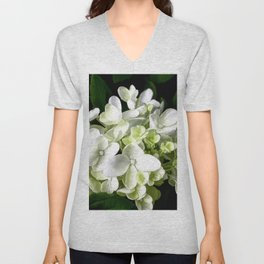 White Hydrangea With Strength And Honor Unisex V-Neck