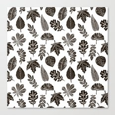 Linocut leaves fall autumn black and white home decor seasonal patterns Canvas Print