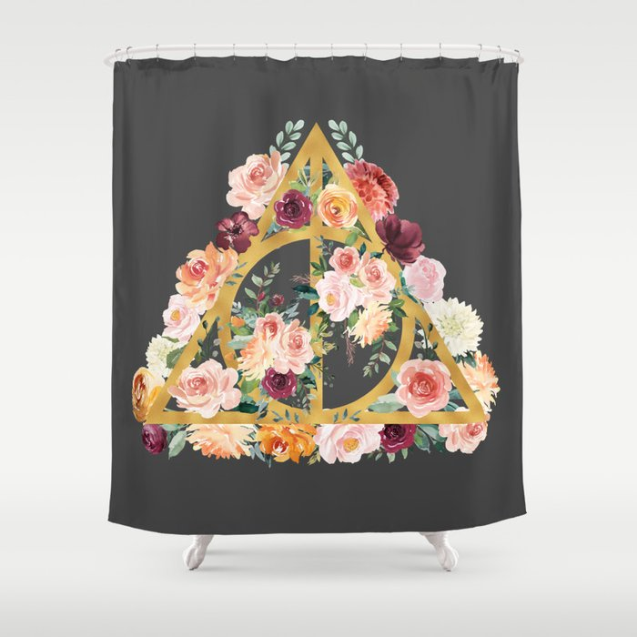 Watercolor Deathly Hallows   Gold/Charcoal Shower Curtain
