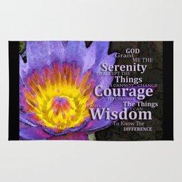 Serenity Prayer With Lotus Flower By Sharon Cummings Rug