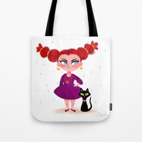 sassy Tote Bags featuring Sassy Witch by Anoosha Syed