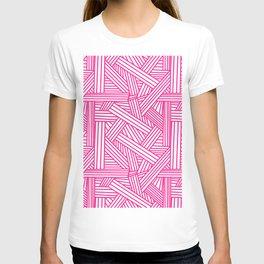 Sketchy Abstract (Dark Pink & White Pattern) T-shirt