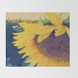 sunflower and little bee Throw Blanket