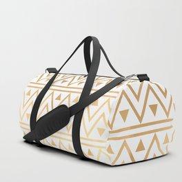 White & Gold Chevron Pattern Duffle Bag
