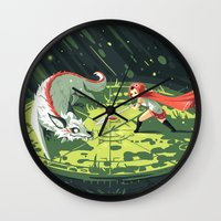 wallet Wall Clocks featuring Duel by Freeminds
