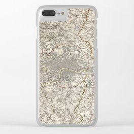 19th Century Topographical Vintage Antique Map London England Steampunk Clear iPhone Case