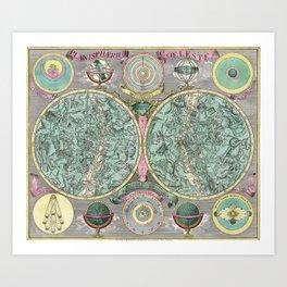 Vintage Astronomy Chart - Star Chart - Circa 1772 Art Print