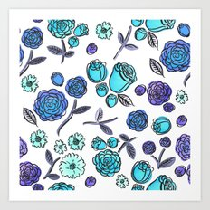 Blue Velvet Roses Art Print
