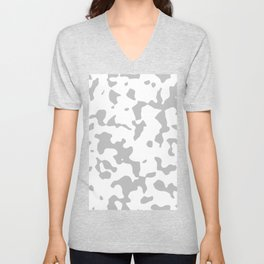 Large Spots - White and Silver Gray Unisex V-Neck