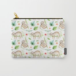 Modern hand painted green brown watercolor tropical floral sloth Carry-All Pouch