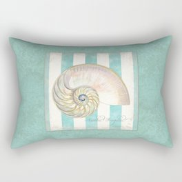 Nautilus Shell Striped Shabby Beach Cottage Watercolor Illustration Rectangular Pillow