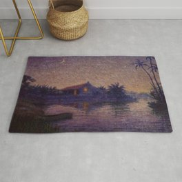 Moonlight Lagoon tropical landscape painting by Anna Woodward Rug
