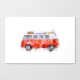 Camper Bus - retro camping van painting / illustration Canvas Print