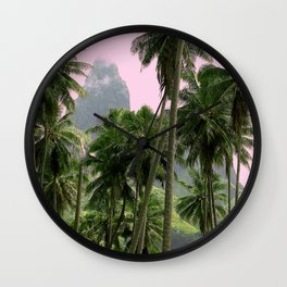 Pink Sunrise in The Marquesas Islands, French Polynesia Wall Clock