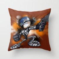 robocop Throw Pillows featuring Robocop by alexviveros.net