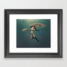 Shark Wrangler Framed Art Print