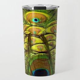 GREEN-YELLOW PEACOCK ART Travel Mug