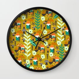 Autumn gnome garden Wall Clock