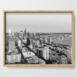 Seattle Skyline Harbor at sunset - black and white Serving Tray