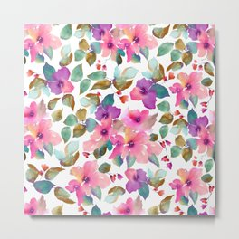 Pink and purplre florals. Watercolor flowers Metal Print
