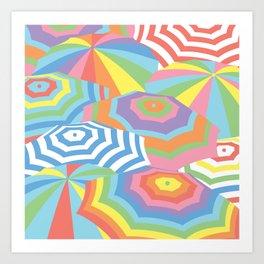 Colorful Beach Umbrella, Geometric Abstract Pattern Art Print