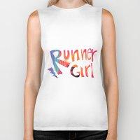 runner Biker Tanks featuring Runner Girl by Cole Design