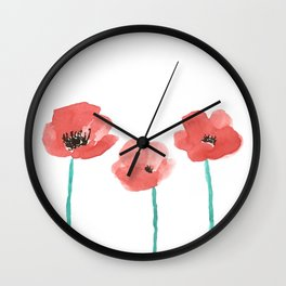 Three Poppies \\ Watercolor Flowers Wall Clock