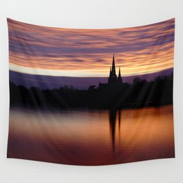 Sunset Reflection At The Lichfield Cathedral Wall Tapestry
