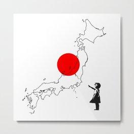 Japanese girl balloon Metal Print
