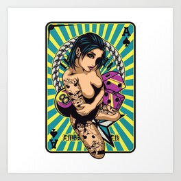 Sexy GIRL ON ACE with Tattoo - VIOLET Art Print