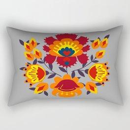 Folk flowers in orange shades Rectangular Pillow