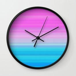 Pink & Aquamarine Blue Stripes Wall Clock