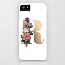Letter R with Flowers in Rose Gold iPhone Case
