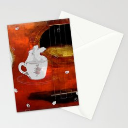 cup of coffee on acousic guitar - color Stationery Cards