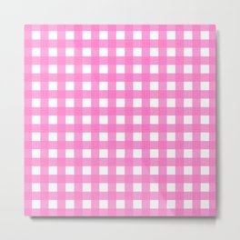 Farmhouse Gingham in Bright Pink Metal Print