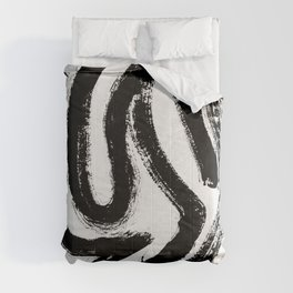 Black and White Abstract Pattern 1: A minimal black and white pattern by Alyssa Hamilton Art Comforters