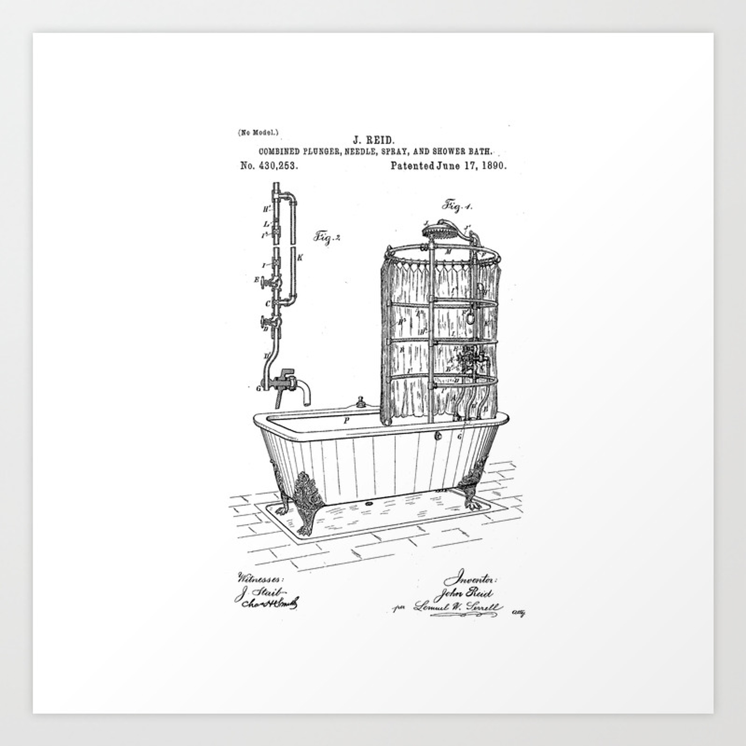 Picture of: Bathroom Patent Art Patent Prints Patent Poster Bath Tub Patent Art Bathroom Patent Print Art Print By Thecraftandcupboard Society6