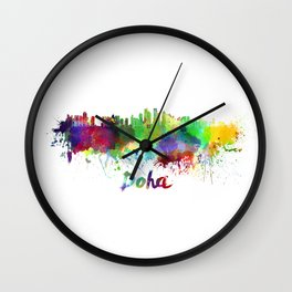 Doha skyline in watercolor Wall Clock