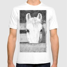 Winter Horse White SMALL Mens Fitted Tee