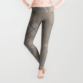Modern elegant gray gold foil geometrical gradient Leggings