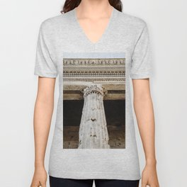 Detail of entablature and column from The Temple of Hadrian, in Rome, Italy. Unisex V-Neck