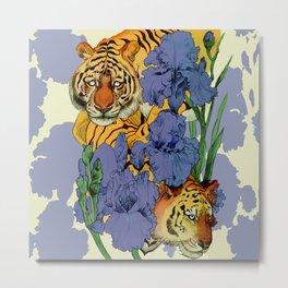 Tigers and Irises Metal Print