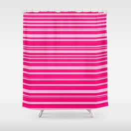 Bright hot and pale pink abstract horizontal linework Shower Curtain