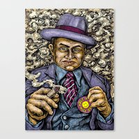 gangster Canvas Prints featuring Gangster by pounders ink