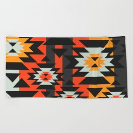 Aztec geometry Beach Towel