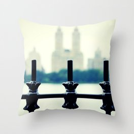 NYC Central Park Two Towers, New York City, Manhattan Throw Pillow
