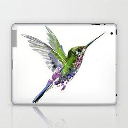 Flying Bird hummingbird, green minimalist bird art design Laptop & iPad Skin
