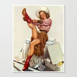 Pin Up Girl Cowgirl Trying on Cowboy Boots Canvas Print