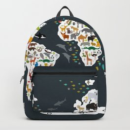 Cartoon animal world map for kids, back to schhool. Animals from all over the world Backpack