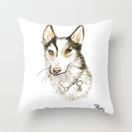 Husky Dog Watercolor in warm yellow tones on White Background Throw Pillow